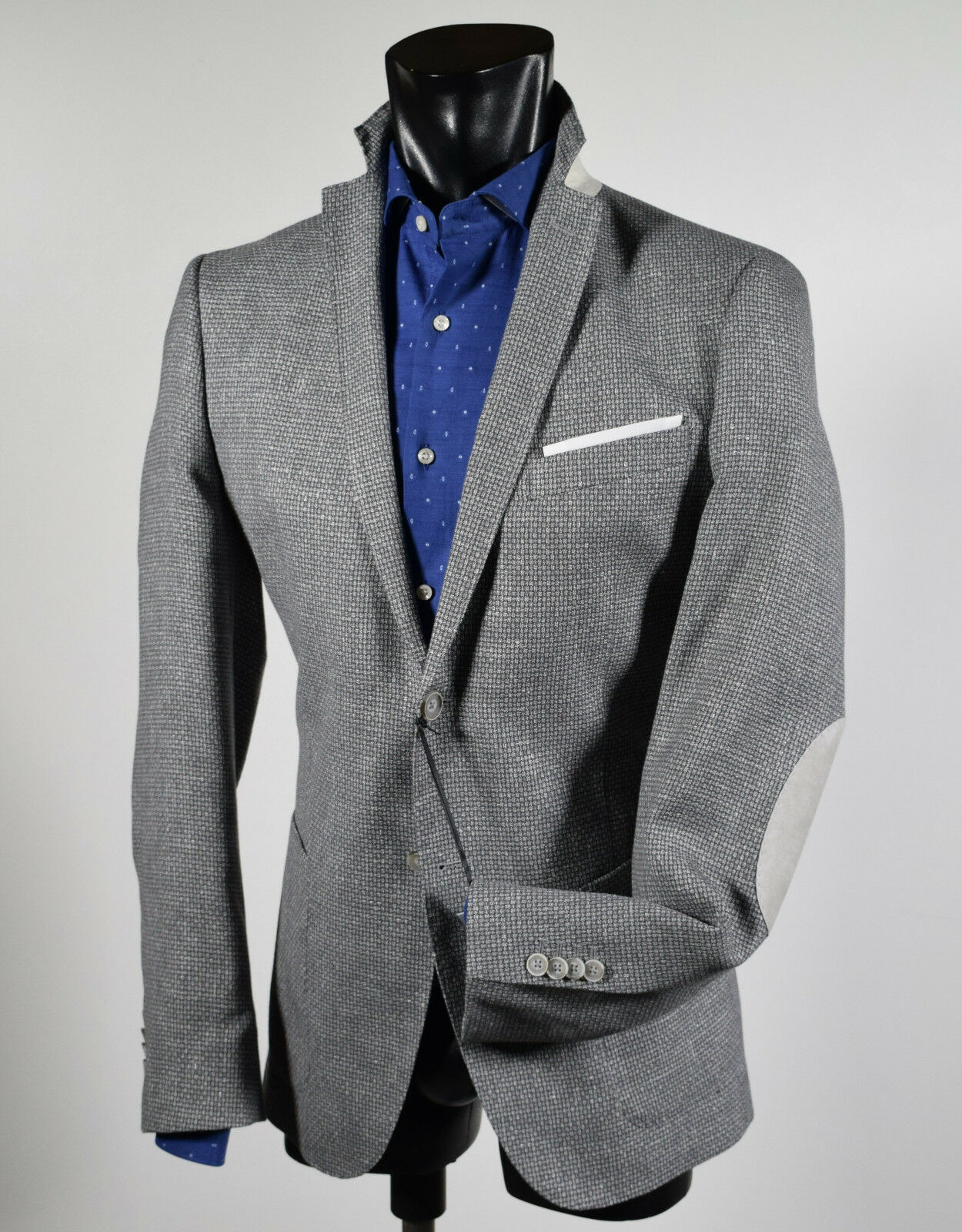 Giacca Blazer grey John Barritt con toppe Slim Fit Sfoderata Cotone e Lino