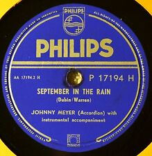 Johnny Meyer Accordion Pop Instro September in the Rain 78 VG++ Indonesia Linger