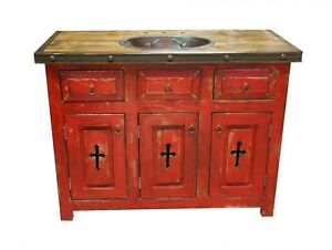 Image Is Loading Rustic Red Templar Cross Bathroom Vanity With Copper