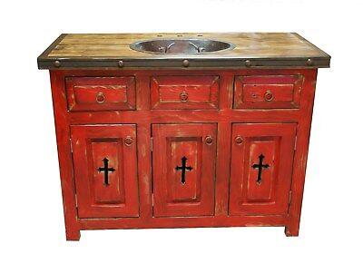 Rustic Red Templar Cross Bathroom Vanity With Copper Sink Ebay