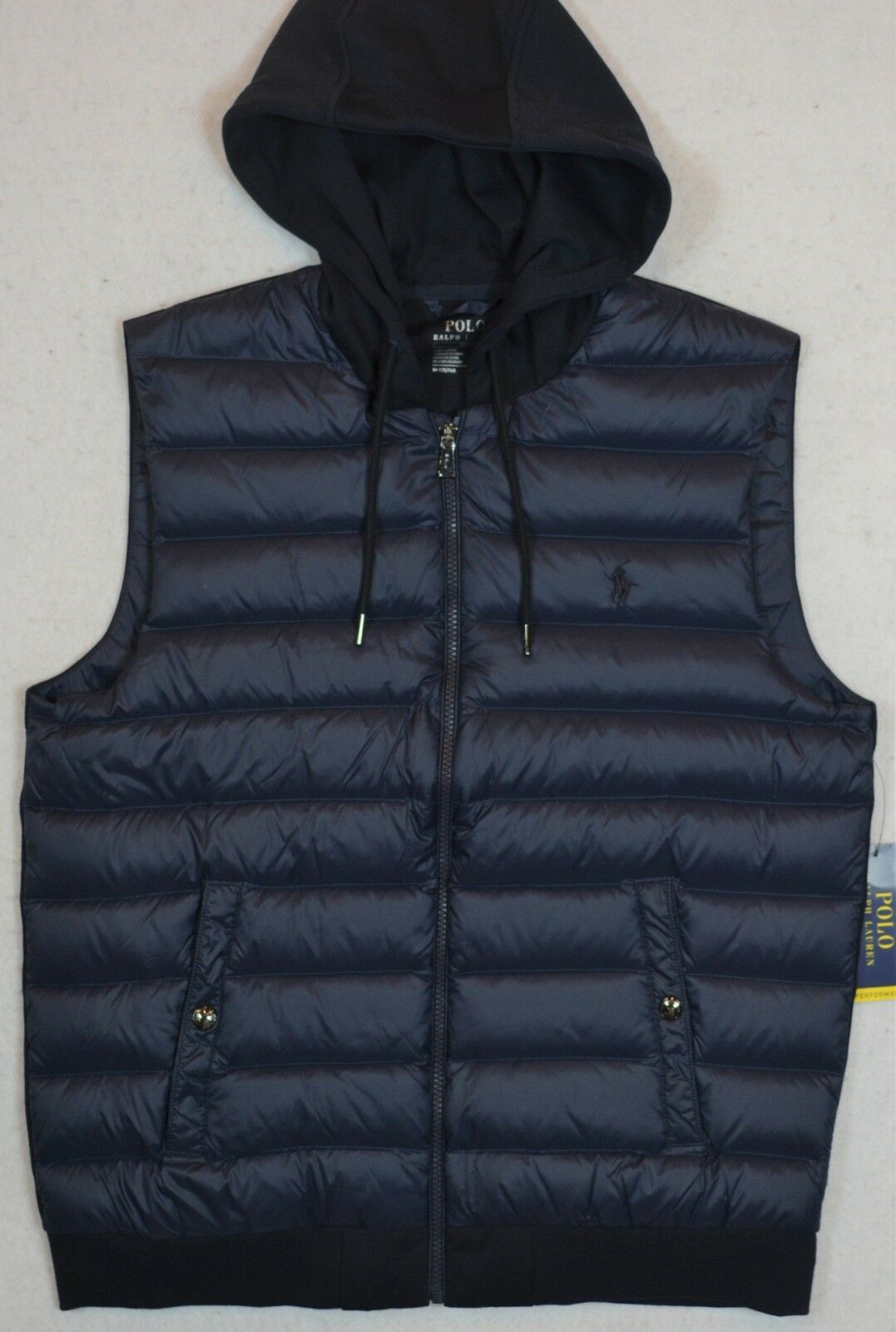 Polo Ralph Lauren Navy L Performance Down Quilted Hooded Vest L Navy Large NWT  145 7de0e7