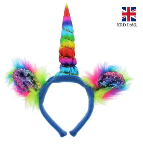 Pelliccia paillettes blu Unicorno Cerchietto Costume CORNO Rainbow Ladies Bambine UK