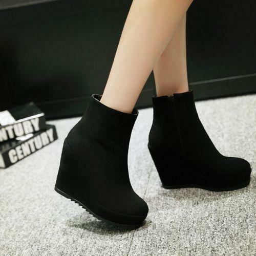 Womens Wedge fashion faux suede ankle boots platform High Heels Pumps Zipper