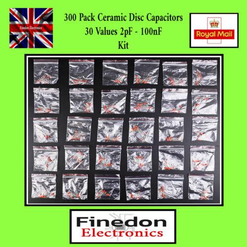 300 pcs Condensateur Céramique Kit 30 Valeurs 2pF 100nF 50 V Assortiment Vendeur Britannique