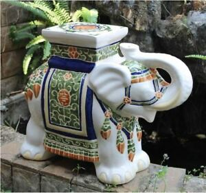 Details About Porcelain Garden Stool Ceramic Elephant Plant Stand Patio Accent Side End Table