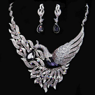 Chic Aniaml Swan Drop Necklace Earrings Set Austrian Crystal Purple Silver Tone