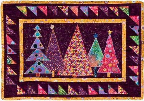 """Wall Quilt Pattern~CHRISTMAS TREES~24/""""x34/"""" Cheery Fancy Lights Decorated Trimmed"""
