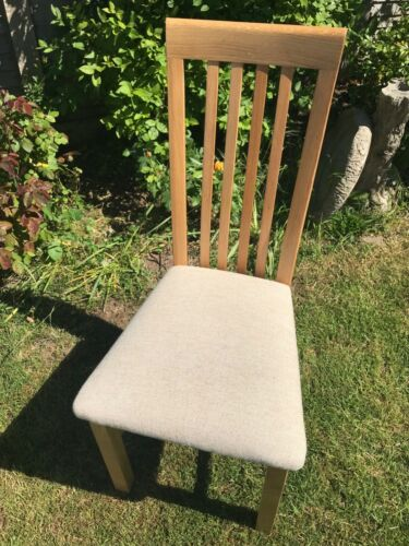 3 Light OAK dining chairs, new surplus to requirements bought DFS. Cloth covered