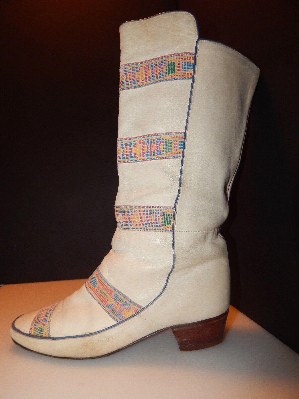 Pollini Leather Boots   US Size 6.5, bluee Trim, Boho, , Free Ship