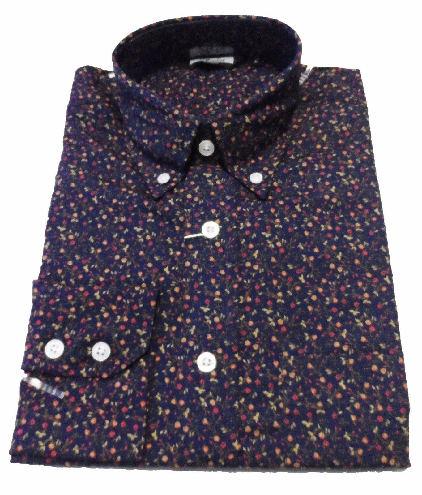 9163ae873b49 Relco Navy Floral Multi Cotton Long Sleeved Retro Mod Button Down Shirts