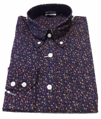 Relco Blu Marino Floreale Multi cotone a maniche lunghe Mod Retro Button Down Shirts