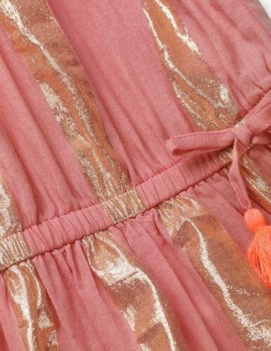 EX-BODEN FILLES Pretty métallique brillant à rayures robe rose ou turquoise entièrement neuf sans étiquette