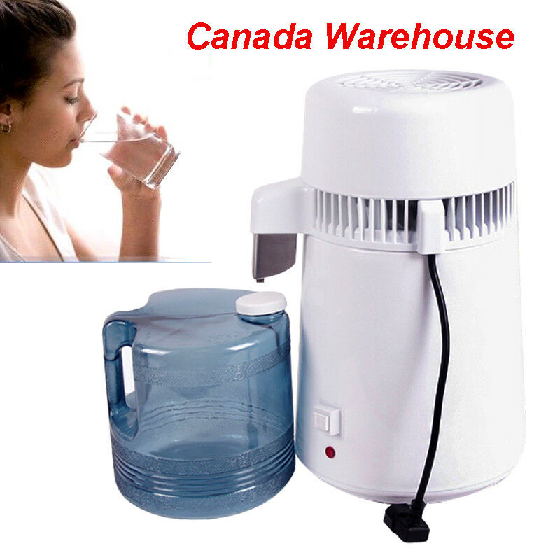 Pure Water Distiller Purifier All Filter 1 Gal 4L Stainless Steel Glass 750W FDA