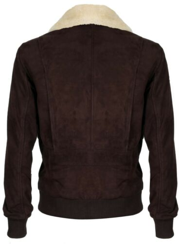 Suede Removable Collar Vintage Leather Varsity Jacket Brown Aviator Mens Bomber SAxwagqq