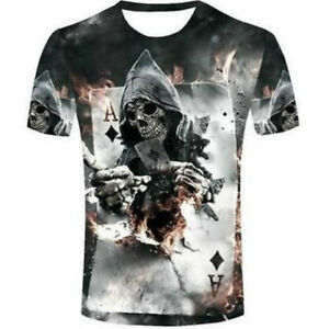 bb6ea3b6d Details about Fashion Casual Poker Skull HIP HOP 3D Print T-Shirt Boys Tops  Short Sleeve sd2