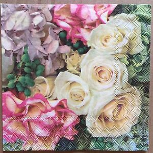 2 single paper napkins for Decoupage Crafts or Collection Pretty Flowers Roses
