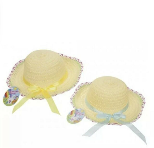 1 x Childrens Woven Summer Bonnet Hat With Ribbon Fancy Dress Summer Craft