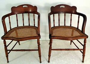 Image Is Loading VTG ANTIQUE MATCHED PAIR 2 TWO CAPTAINS CHAIRS