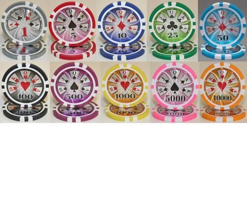 NEW 600 Piece High Roller 14 Gram Clay Poker Chips Pick Denominations Bulk Lot