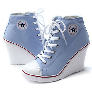 Epicsnob-Womens-Shoes-Canvas-Wedge-Hidden-High-Heel-Lace-Up-Fashion-Sneakers