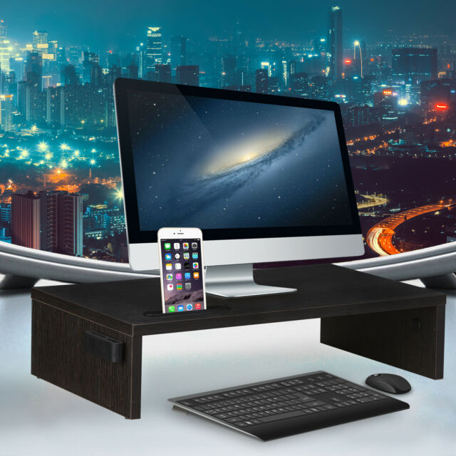 Riser Stand Computer LCD LED Monitor Laptop Desk Organizer Space Saver Wood