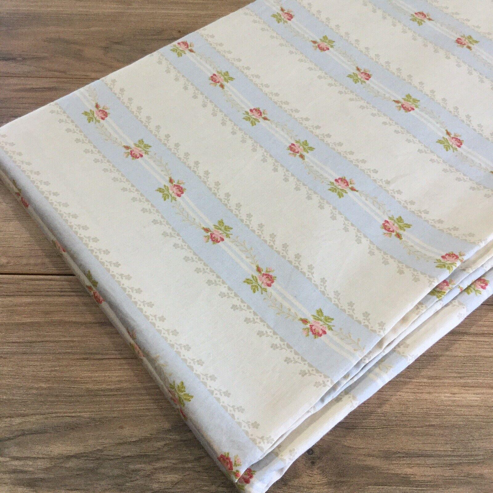 Ralph Lauren WENTWORTH WISTERIA Queen Striped Floral Sateen Flat Sheet Excellent