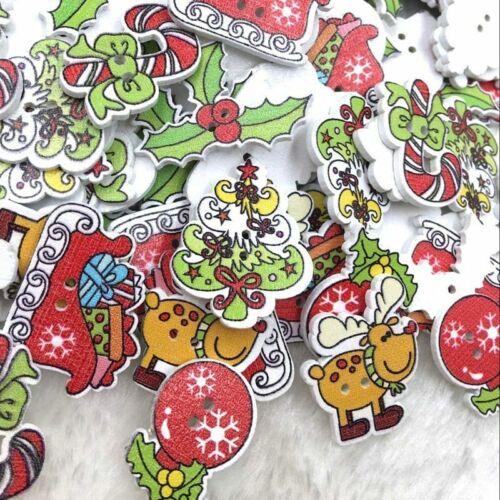 Random Mixed Wooden Button Christmas Pattern Scrapbook Decorative Buttons 50Pcs