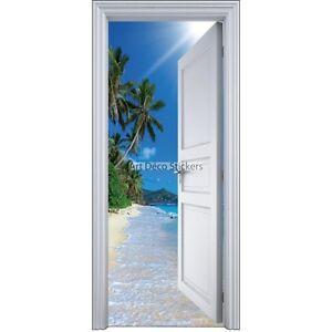 Sticker porte trompe l 39 oeil palmiers 90x200cm 9102 ebay - Trompe l oeil de porte ...