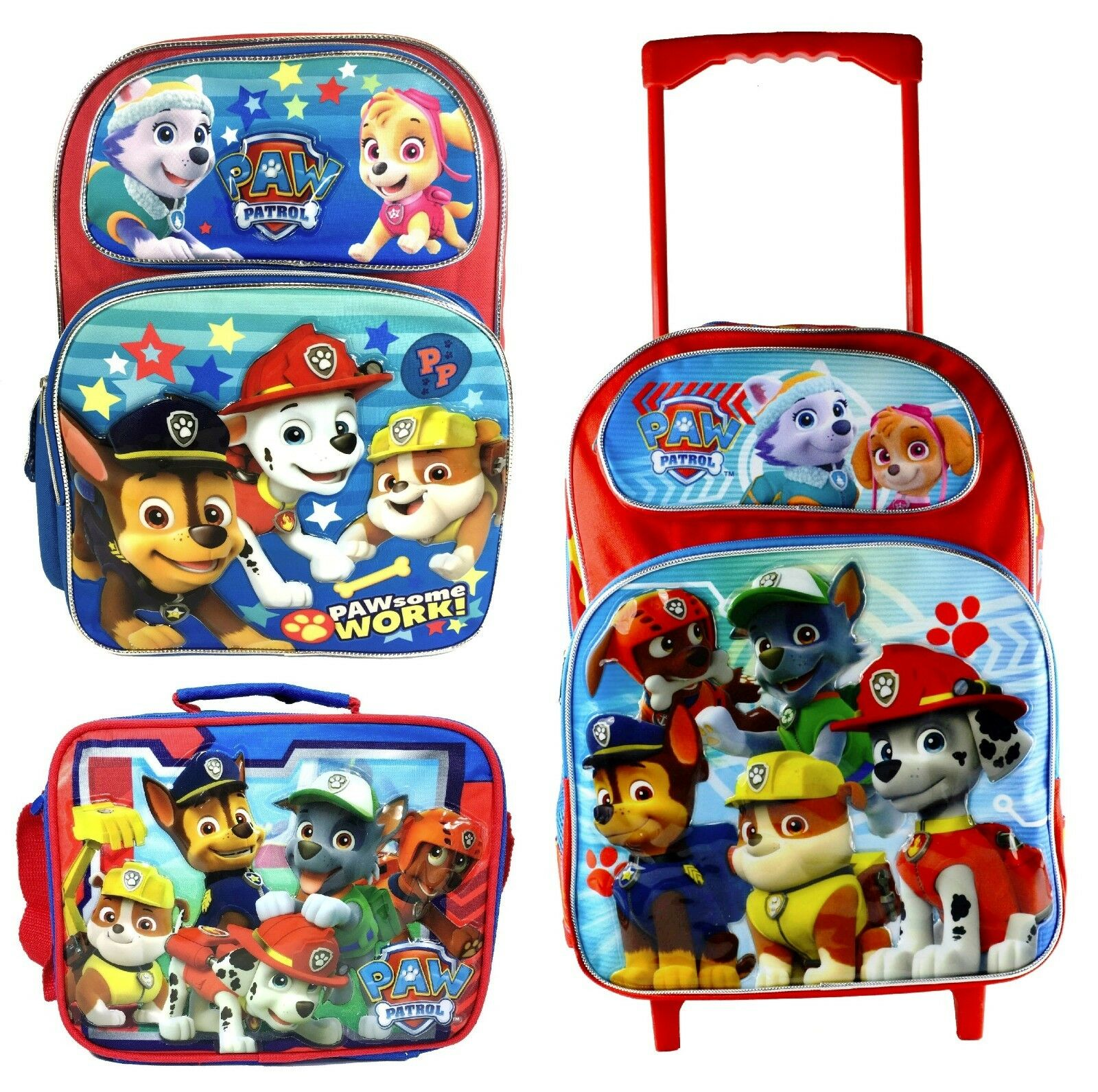 Nickelodeon Paw Patrol Lunch Bag Large School Backpack Rolling Bag