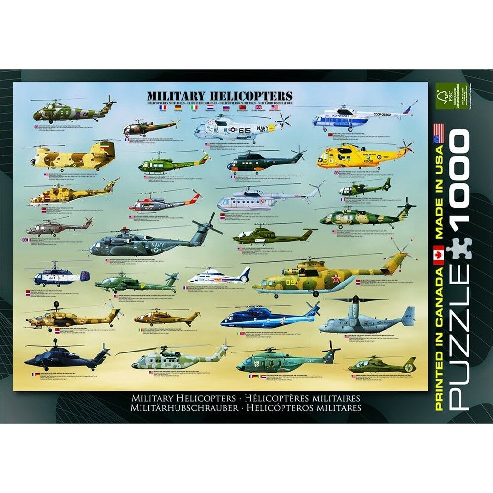 Eurographics Military Helicopters Puzzle (1000 Pieces) - 1000 Jigsaw Pieces