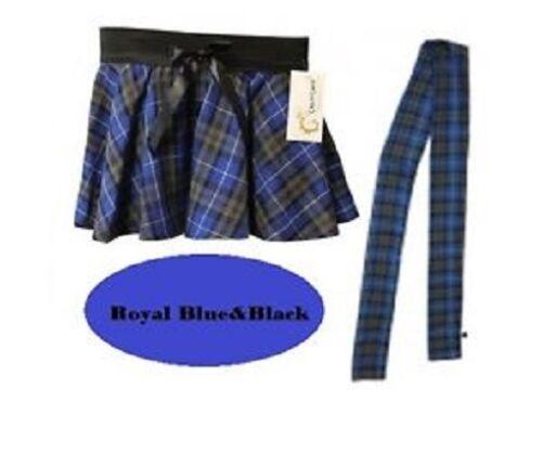 Bow Style Ladies Women Circular Tartan Mini Skirt/&Scarf Set