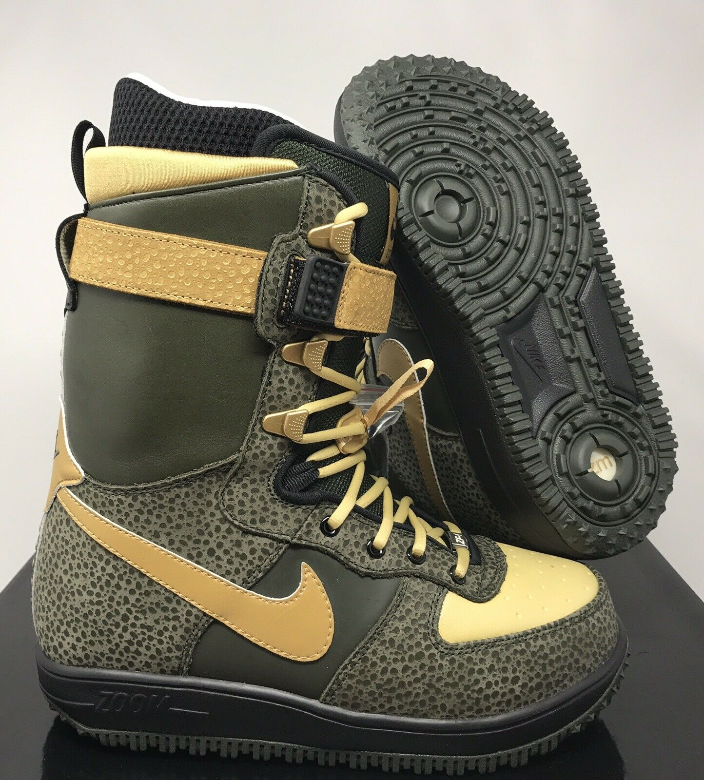 NIKE 2008 ZOOM FORCE 1 SNOWBOARDING BOOTS DARK ARMY-gold SZ 8.5 [334841-371]
