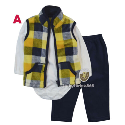 Pants outfit Size 0 3 6 9 12 months long sleeve Shirt New Baby Boys 3 pcs Vest