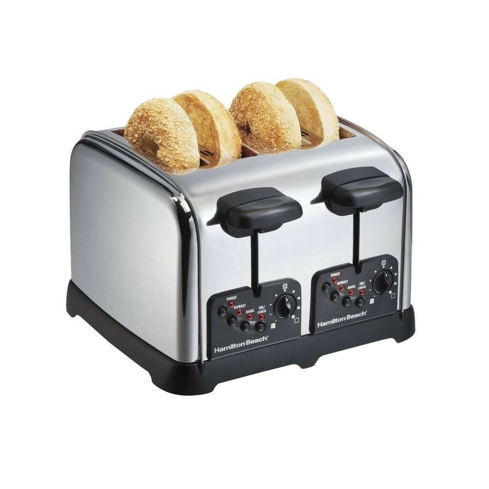 Chrome 4-Slice Toaster Extra Wide Slot Bagel Button Dual Control Auto Shutoff