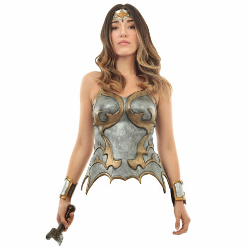 Womens Silver Corset Latex Gladiator Roman Wonder Woman She-Ra Armor Top Cuffs