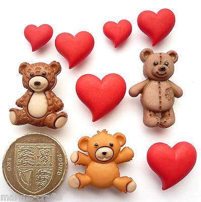 HUG ME Craft Buttons Teddy Bears Children Animals Baby Nursery Love Toys Hearts