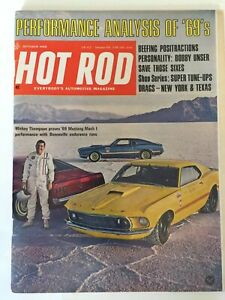 Hot Rod magazine Oct 1968 Performance testing the 69's Mickey's Mustang's
