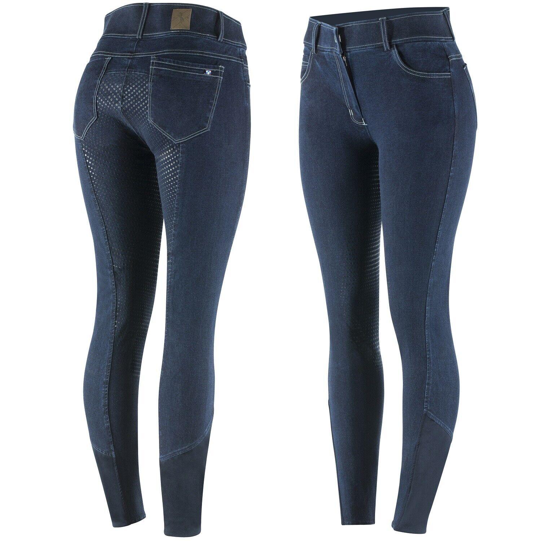 Horze Mujer Asiento Completo De Silicona Azul Denim Jean Pantalones De Montar Equitación (EE. UU. 34 )