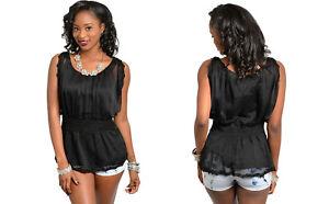 d7eb52f84 JAJA & CO.Women's Peplum Top Solid Black Chiffon-Overlay Lace-Trim ...