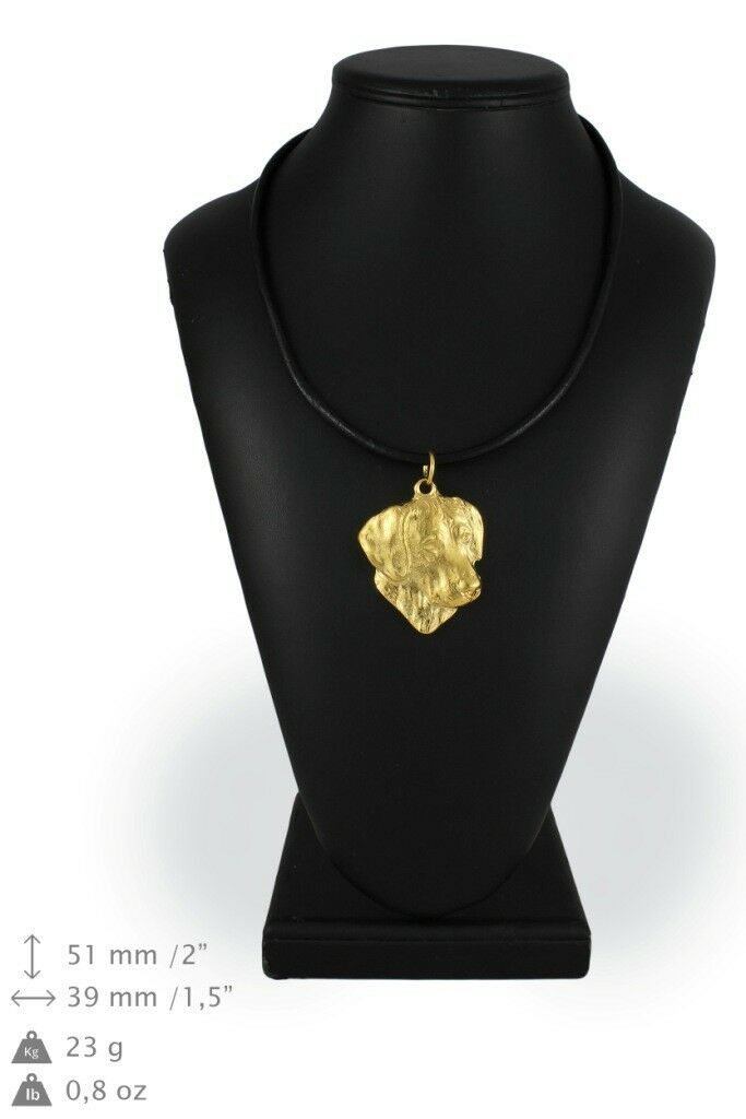 Rhodesian Ridgeback - Gold coverot necklace with dog, high quality Art Dog