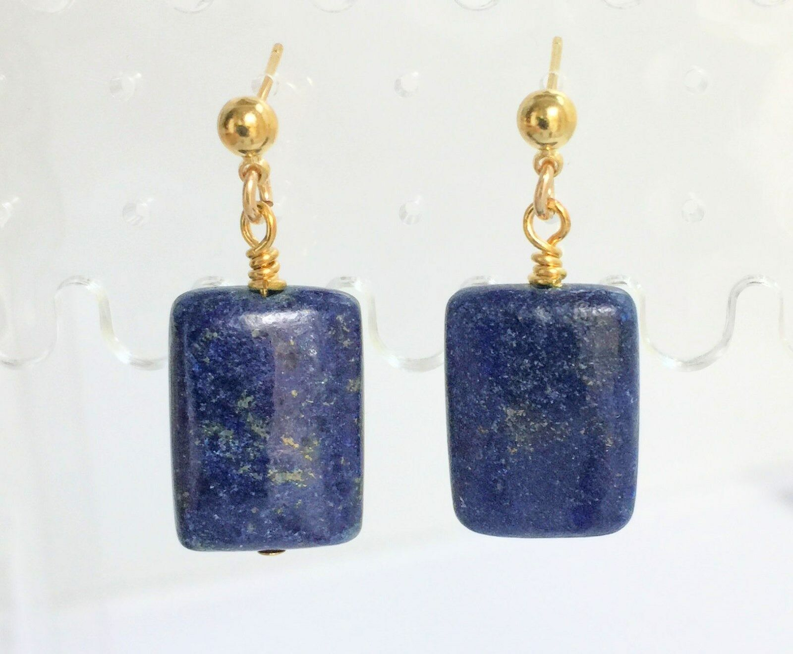 bluee Lapis Post Drop Earrings 18x12mm Handmade