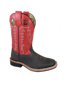 Smoky Mountain Youth Size 7 Black Shaft Brown Toe Leather Square Toe Cowboy Boots