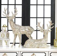 raz imports20 shiny champagne rhinestone deerset of 2christmasreindeer - Christmas Reindeer 2