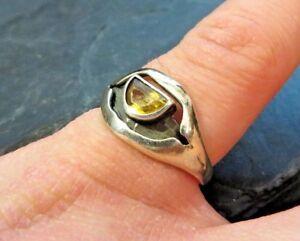 Huebscher-925-Silber-Ring-FS-Franz-Scheurle-Gelber-Stein-Citrin-Designer-Sterling