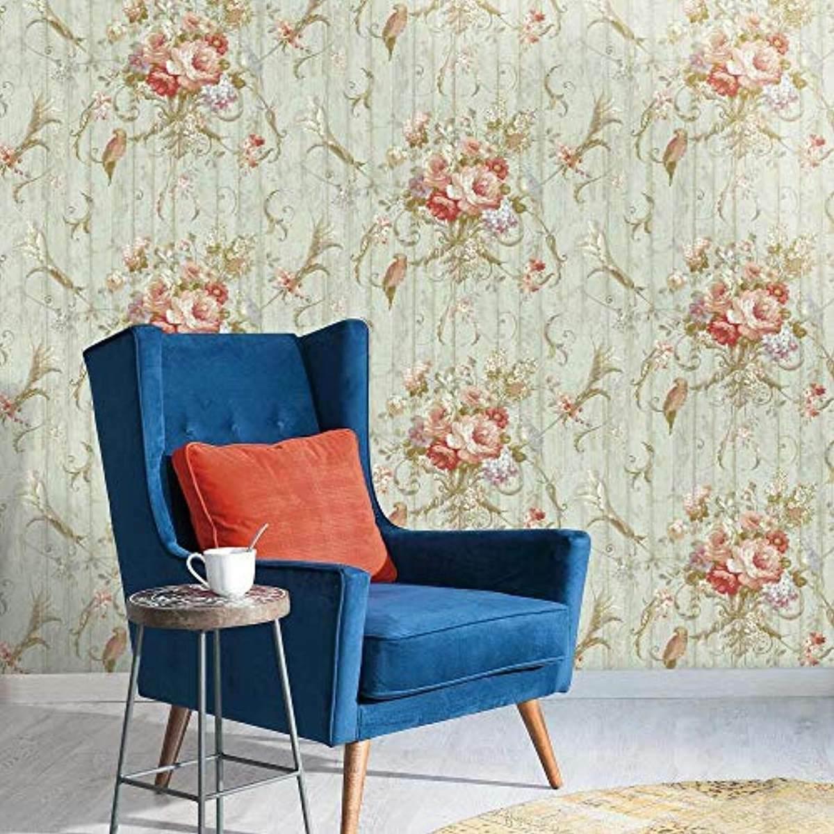 York Ha1326 Vintage Victorian Floral Bouquets Bird Rose Blue