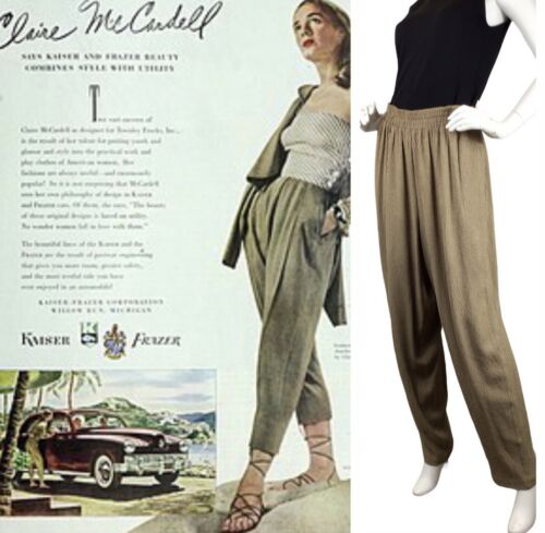 Vintage Claire McCardell Pants Wide Leg Puckered R