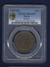 MEXICO ESTADOS UNIDOS 1935 10 CENTAVOS COIN CERTIFIED UNCIRCULATED PCGS MS62-BN