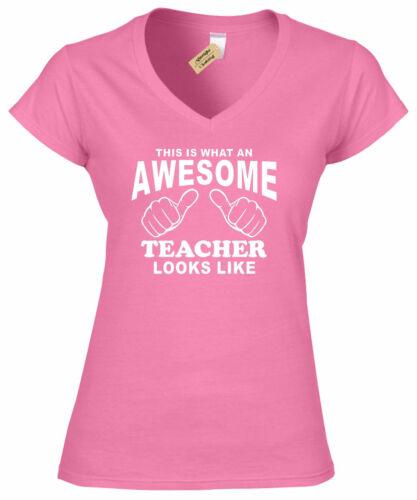 Womens Awesome TEACHER T Shirt teachers present ladies top gift V-Neck Top