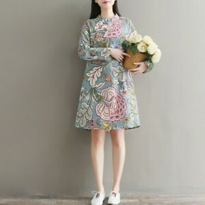 Ladies-Floral-Linen-Cotton-Long-Sleeve-Midi-Dress-Frog-Button-Chinese-Cheongsam