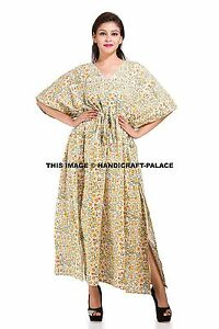 c60cb2bd9b6 Floral Kaftan Boho Hippie Plus Size Women Indian Dress Caftan Beach ...